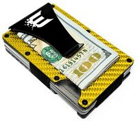 Exenact Gold Carbon Fiber Wallet Money Clip RFID Blocking Credit Card Holder