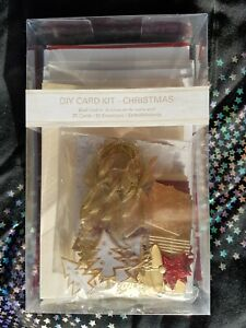 Christmas Craft Card Making Kit - 20 cards & envelopes Gold & Red Tree Bell Star
