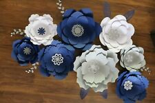 Paper flowers decorations blue white gray cardstock wedding party event decor