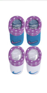 Nike Blue And Purple Polka Dot Baby Socks Booties 0-6 Months New In Box