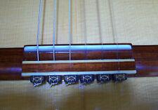 Rosette Diamond Secure Classical Guitar String Ties- New Gold Inlay Bridge Beads