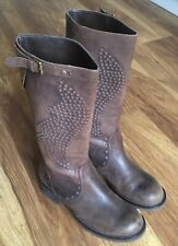 ASH Brown Distressed Italian Leather  Stud Biker Boots Size 37 / UK4 - RRP £300