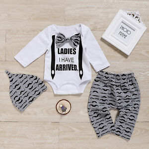 Baby Boys Gentleman Suit Newborn Infant Clothes Outfits Romper Tops Trousers Hat