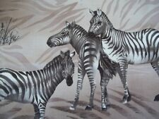 "Vintage Zebra Family Fabric Panel approx 14 x 14"" Cotton Craft Piece Scrap"