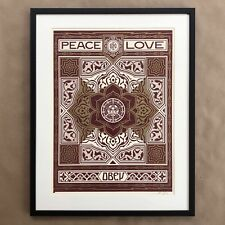 Shepard Fairey Signed Holiday Peace and Love Ornament Framed Art Print Obey Rare