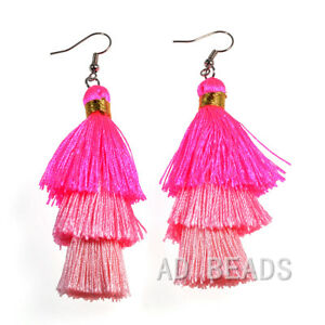 Fashion Charm Crystal Multicolor Silk Tassel 3 Layers Fan Fringe Dangle Earrings