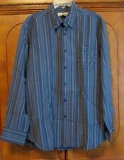 Tommy Bahama Mens shirt Sz L Long sleeve Pearl Button front Blue stripe