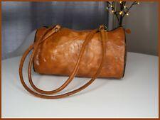 Vintage 90s brown leather embossed tribal design hand bag duffle / bowler medium