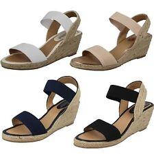 F2r270 Ladies Savannah Rope Wedge Heel Open Toe Elasticated Slingback Sandals White UK 5 Standard