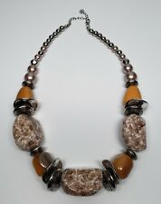 Big Bold Lucite Butterscotch Speckled Statement Necklace