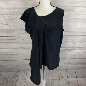 Soft Surroundings Womens Silk Asymmetric Top Blouse Size Medium Black