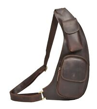 Real Leather Cross Body Slim Holster Sling Chest Bag Travel Pouch Brown