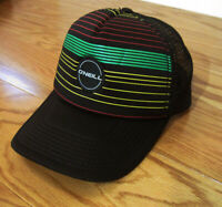 O'NEILL Black wt Red/Green/Yellow Rasta Stripes Surfing Snapback Trucker Hat Cap