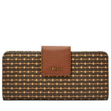 NEW FOSSIL Madison Slim Clutch MULTI BROWN COLOR