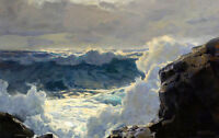Oil painting frederick judd waugh - Breaking Waves seascape hand painted canvas