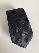 LIBERTY Pure Silk Black Woven Diamond Pattern Neck Tie