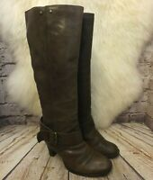 Womens Bronx Brown Leather Pull On Mid Heel Knee High Boots UK 4 EUR 37