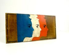 HANDPAINTED ANTIQUE ART DECO FRENCH FLAG ON WOOD SIGN TRICOLORE ABOUT 1930