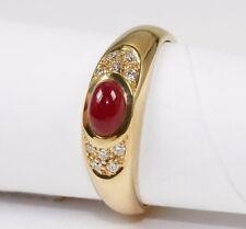 Klassischer  Ring in 585 Gold mit Rubin-cabochon und Brillant 0,10 ct.w.si