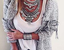 Rhinestone Crystal Silver Gypsy Bohemian Turkish Chunky Bib statement necklace