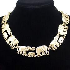Elefanten Mutter Kind Baby Design Collier Kette Halskette Gold plattiert neu
