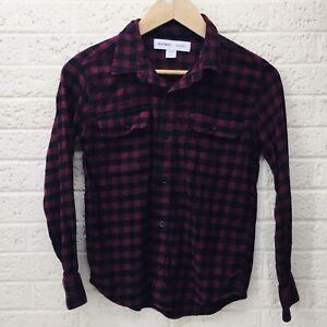 Boy's OLD NAVY Sz L 10-12 Built-In Flex Button Up LS Plaid Shirt Black/Red •VG‼