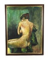 Vintage Mid Century Modern Art Oil Painting Portrait Beautiful Woman Nude