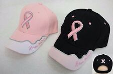 72 pc Lot HOPE BELIEVE BREAST CANCER AWARENESS Curved Bill Baseball Hats