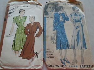2 Hollywood Size 18 Woman's Dress Pattern 1930's? 1 Katharine Hepburn