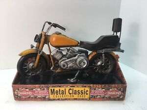 Yellow Motorcycle Metal Classic Collection 2002  Diamond Nuts  New In Box