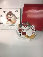 Fitz & Floyd Plaid Christmas Snowman Canape Plate - New In Box