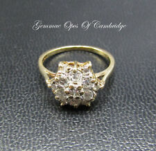 18ct Gold Diamond Cluster Ring Size M 3g 0.87 carats