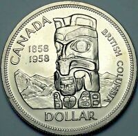 1958 CANADA SILVER DEATH DOLLAR TOTEM PROOF LIKE GEM BU SUBTLE TONED UNC (DR)