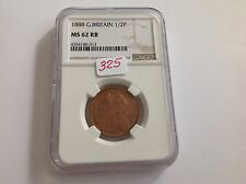 1888 Great Britain Half Penny Ngc Ms 62 Red Brown