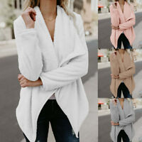 Women Long Sleeve Cardigan Open Front Sweater Jumper Ladies Outwear Casual Coat
