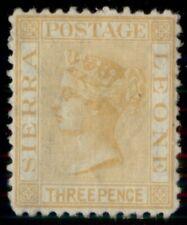 SIERRA LEONE #8a, 3p yellow, upright wmk, unused no gum, VF, PF cert Scott $550