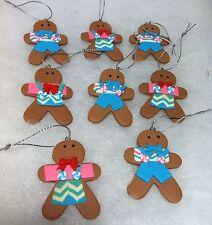 8 Pastel mini Gingerbread man Cookie Christmas tree Ornaments Miniature Crafting