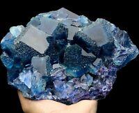 5.9LB Rare Ladder-like Blue Fluorite & Calcite Crystal Mineral Specimen/China