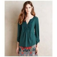Anthropologie Meadow Rue Anona Blouse sz. Small Lace Bib 3/4 adjustable Sleeves