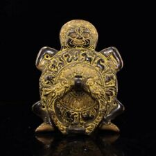 Chinese Antique Tibetan temple collection old copper handmade monster Knocker f1