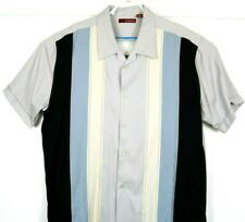 Sobrino Retro Lounge Panel Shirt Blue 54% Rayon Blend Embroidered Panels Sz XXL