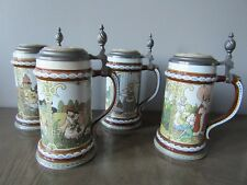 Mettlach Villeroy Boch Brothers Grimm Fairy Tale Steins 2901-04 Set of 4 Germany