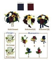 Beautiful Fall Wedding - Navy Blue, Burgundy, Rose & Sunflowers Bouquet Corsage