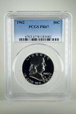 PR67 1962 PCGS GRADED FRANKLIN 90% SILVER HALF DOLLAR 50C PROOF COIN LIBERTY US