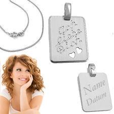 1 Ich liebe Dich 2 Herzen Anhänger mit Namen Datum Gravur mit Kette Silber 925