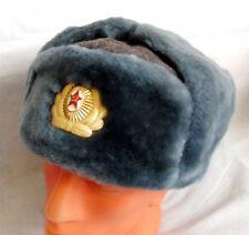 USSR Russian Army Officer Mouton Sheepskin Fur Ushanka Hat Badge 60cm XL -1989