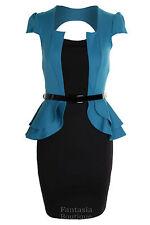 Ladies Square Neck Peplum Belted Cap Sleeve Jacket Black Skirt Women's Dress