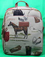 Rucksack Pferdesport Motiv Gobelin Pferd Sattel Reiter Stiefel Horse