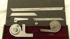 Vintage L.S. Starrett Co: USA. No. 360 Vernier Bevel Protractor Complete Set