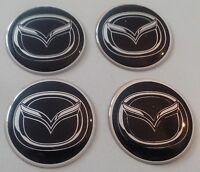4 Mazda Aufkleber 45mm Schwarz Embleme Logo  Nabendeckel 215-Mazda